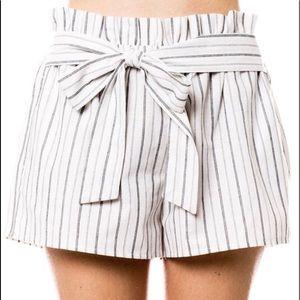 Grey and White Pin Stripe Shorts